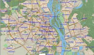 Карта секторов обслуживания такси Joker в Киве